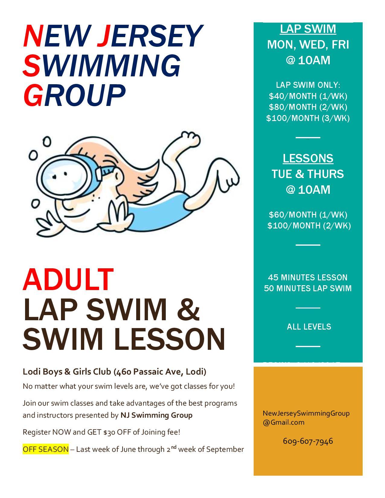 Tres niveles de clases de natación para adultos: Aprender a nadar, Refinamiento de trazos y análisis de video, y Entrenamiento de avance rápido para carreras y competición.